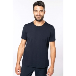 K398 Men's short-sleeved organic t-shirt with raw edge neckline