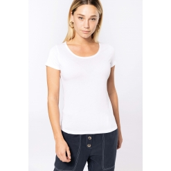K399 Ladies' short-sleeved organic t-shirt with raw edge neckline