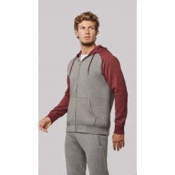 PA380 Unisex two-tone zipped hooded fleece jacket
