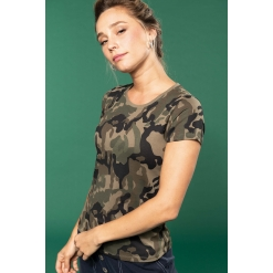 K3031 Ladies' short-sleeved camo t-shirt