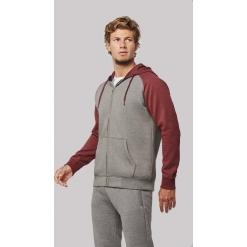 PA380 Unisex two-tone zipped hooded fleece jacket